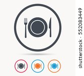 dish  fork and knife icons.... | Shutterstock .eps vector #552083449