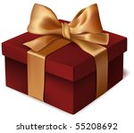 red gift box with ribbon.... | Shutterstock .eps vector #55208692