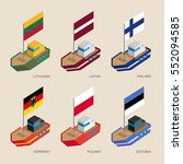 set of isometric 3d ships with... | Shutterstock .eps vector #552094585