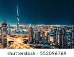 fantastic nighttime skyline... | Shutterstock . vector #552096769