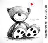 Hand Drawn Teddy Bear Isolated...