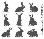 set of rabbit icons isolated on ... | Shutterstock .eps vector #552101455
