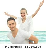 happy family having fun on the... | Shutterstock . vector #552101695