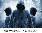 Small photo of Group of mystery people in hoodies,Movies or Book cover ideas