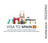 visa to spain. document for... | Shutterstock .eps vector #552102961