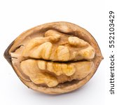 Small photo of Walnut and walnut kernel isolated on the white background.