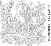 exotic tropical zentangle bird... | Shutterstock .eps vector #552113449