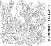 exotic tropical zentangle bird... | Shutterstock .eps vector #552113449