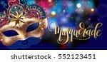 3d gold venetian carnival mask... | Shutterstock . vector #552123451