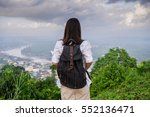 young woman with backpack... | Shutterstock . vector #552136471