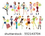 shopping women set. elegant ... | Shutterstock . vector #552143704