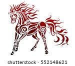 flaming horse. tribal vector... | Shutterstock .eps vector #552148621