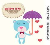 cute blue teddy with umbrella 7 | Shutterstock .eps vector #55215397