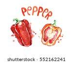 watercolor  red bell pepper. | Shutterstock . vector #552162241