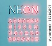 neon character set shining ... | Shutterstock .eps vector #552162979