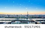 Small photo of Business concept for information, communication , connection technology - panoramic modern city skyline bird eye aerial night view under dramatic glow and beautiful dark blue sky