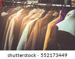 selective focus winter coats...   Shutterstock . vector #552173449