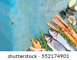 fresh seafood and fish flat lay ... | Shutterstock . vector #552174901