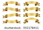 set of golden ribbons on white... | Shutterstock .eps vector #552178411