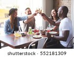 four young stylish smiling... | Shutterstock . vector #552181309