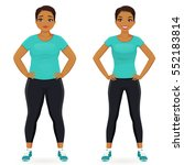 fat and slim woman  before and... | Shutterstock .eps vector #552183814