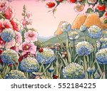 flowers background paintings ... | Shutterstock . vector #552184225