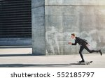 side view of a man in black... | Shutterstock . vector #552185797