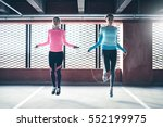 young pretty athletics girls... | Shutterstock . vector #552199975