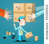 delivery service man. vector... | Shutterstock .eps vector #552202411
