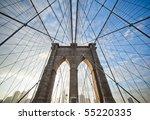 upward image of brooklyn bridge ... | Shutterstock . vector #55220335