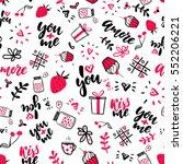 valentine s day vector seamless ... | Shutterstock .eps vector #552206221