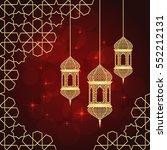 ramadan greeting card on red... | Shutterstock .eps vector #552212131