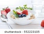 morning healthy breakfast with... | Shutterstock . vector #552223105