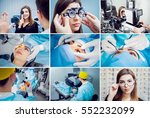 collage of operation on the eye.... | Shutterstock . vector #552232099