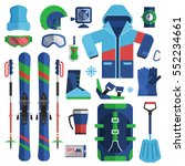 mountain skiing gear and... | Shutterstock .eps vector #552234661