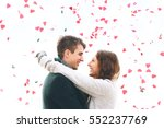 cute young couple in love ... | Shutterstock . vector #552237769