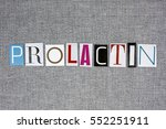 Small photo of prolactin word on grey background, medical concept