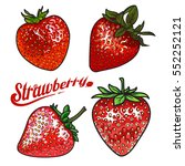 vector strawberry set. ripe red ... | Shutterstock .eps vector #552252121