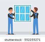 workers install plastic window. ... | Shutterstock .eps vector #552255271