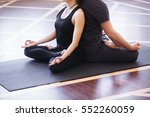 yoga group concept. young... | Shutterstock . vector #552260059