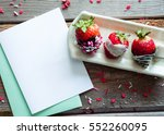overhead of pretty  chocolate... | Shutterstock . vector #552260095