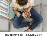 beautiful happy woman at home... | Shutterstock . vector #552262999