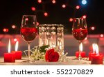 Romantic Dinner. Focus On Red...