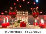 Romantic Dinner. Focus On Red...