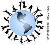 illustration of people jumping... | Shutterstock .eps vector #55227331