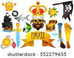 set illustrations with pirate...