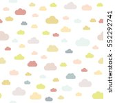 Stock vector seamless pattern clouds colorful clouds pastel colors white background vector flat 552292741