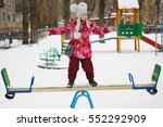 balancing girl stand on a... | Shutterstock . vector #552292909
