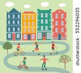 summer activities cartoon set... | Shutterstock .eps vector #552296035
