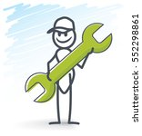 ant holding a wrench key | Shutterstock .eps vector #552298861